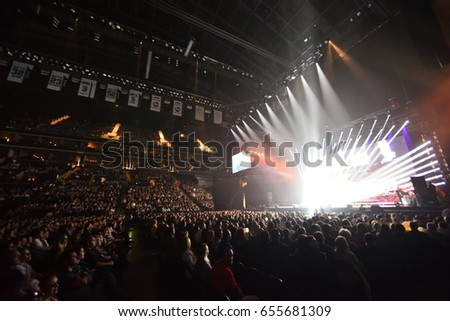 BROOKLYN, NY - JUNE 03: Over ten thousands people attend the Viktor Drobysh 50th year birthday concert at Barclay Center on June 03, 2017 in Brooklyn NY.