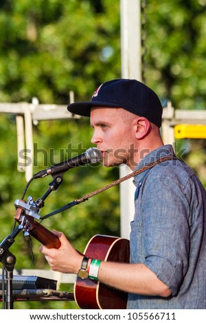 BROOKLYN, NY - JUNE 15: Singer-songwriter from Sweden Jens Lekman performs at Northside Festival, McCarren Park concert June 15, 2012 in Brooklyn, NY