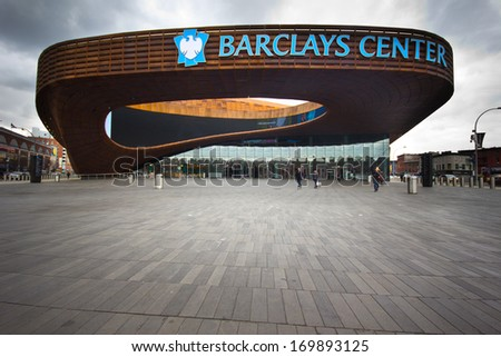 BROOKLYN, NY - MAR 1: Barclays Center is Brooklyn, NYC seen on Mar 1, 2013. This multi-purpose arena which opened in 2012 is home of Brooklyn Nets Basketball team and future home to NY Islanders. - stock photo