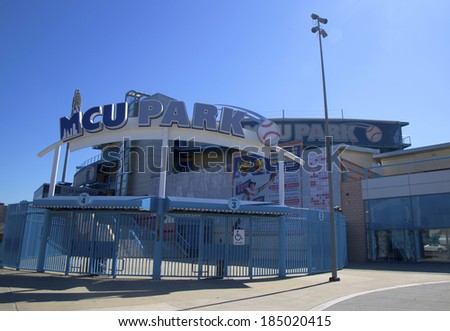 BROOKLYN, NY - MARCH 18: MCU ballpark a minor league baseball stadium in the Coney Island section of Brooklyn, the home team is the New York Mets - affiliated Brooklyn Cyclones on March 18, 2014 - stock photo