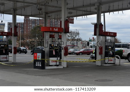 BROOKLYN, NY - NOVEMBER 01: Gas station is closed at the Seagate neighborhood due to impact from Hurricane Sandy in Brooklyn, New York, U.S., on Thursday, November 01, 2012. - stock photo