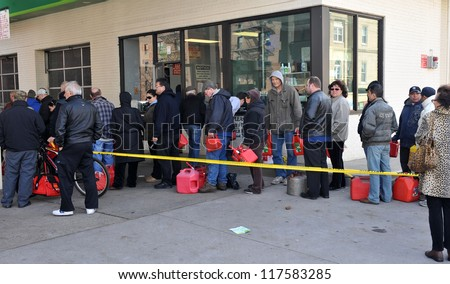 BROOKLYN, NY - NOVEMBER 03: People says in line for gas in the Sheapsheadbay neighborhood due to strong wind from Hurricane Sandy in Brooklyn, New York, U.S., on Saturday, November 03, 2012. - stock photo