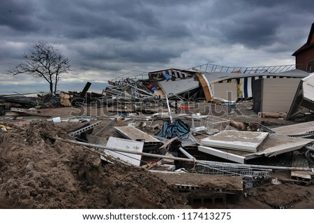 BROOKLYN, NY - NOVEMBER 01: Serious damage in the buildings at the Seagate Beach club due to impact from Hurricane Sandy in Brooklyn, New York, U.S., on Thursday, November 01, 2012.