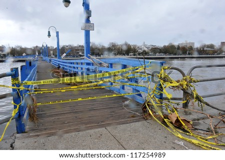 BROOKLYN, NY - OCTOBER 30: Bridge closed in the Sheapsheadbay neighborhood due to flooding from Hurricane Sandy in Brooklyn, New York, U.S., on Tuesday, October 30, 2012. - stock photo