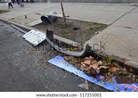 BROOKLYN, NY - OCTOBER 30: Debris litters the ground in the Sheapsheadbay neighborhood due to flooding from Hurricane Sandy in Brooklyn, New York, U.S., on Tuesday, October 30, 2012. - stock photo