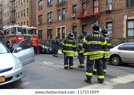 BROOKLYN, NY - OCTOBER 30: NYC fire department working in the Sheapsheadbay neighborhood due to flooding from Hurricane Sandy in Brooklyn, New York, U.S., on Tuesday, October 30, 2012. - stock photo