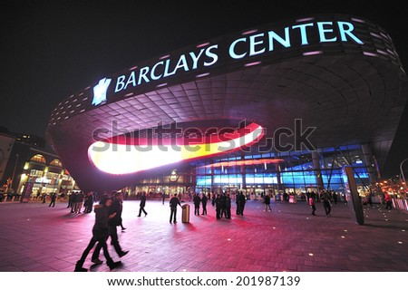 BROOKLYN, NY USA -?? November. 27. 2012: Barclays Center is multi-purpose arena which opened in 2012, home of Brooklyn Nets Basketball team and future home to NY Islanders. - stock photo