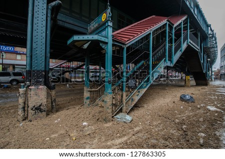 BROOKLYN, NY/USA - OCTOBER 30, 2012: The remnants of flooding from hurricane Sandy can be seen here at the Ocean Parkway Q subway stop in the Brighton Beach section of Coney Island. Brooklyn Oct 30 2012 - stock photo