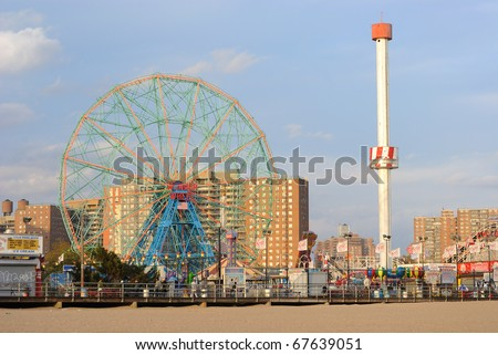 BROOKLYN - OCTOBER 24: Built in 1920, the existence of the Wonder Wheel in Coney Island is being threatened by future development October 24, 2010 in Brooklyn, New York. - stock photo