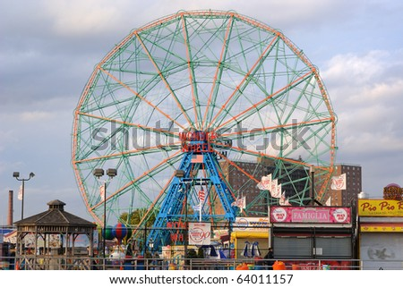 BROOKLYN - OCTOBER 25: The Wonder Wheel at the now defunct astroland at Coney Island October 25, 2010 in Brooklyn, New York. - stock photo