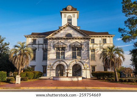 Brooks County Courthouse in Quitman, GA. It was built during the Civil War and is an example of Renaissance Revival and Romanesque Revival architecture. - stock photo