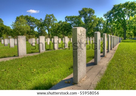 brookside war memorial cemetery in Winnipeg, Manitoba - stock photo