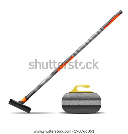 Broom and stone for curling - stock photo