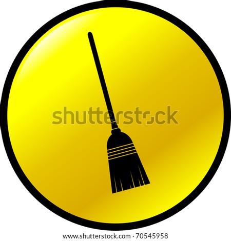 broom button - stock photo