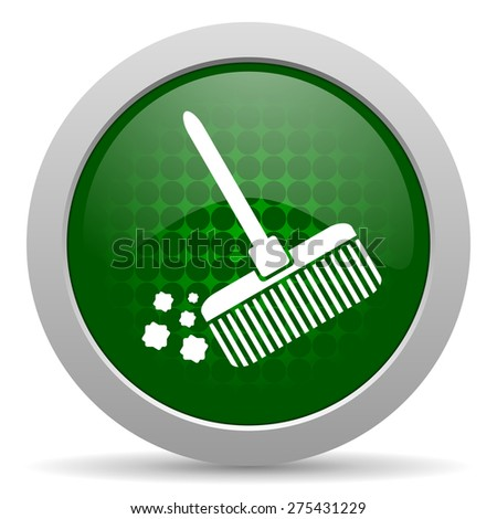 broom icon clean sign  - stock photo