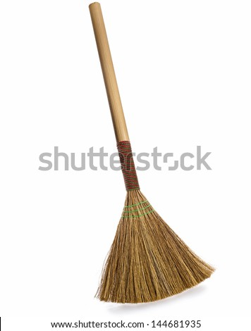 broom isolated on white background - stock photo