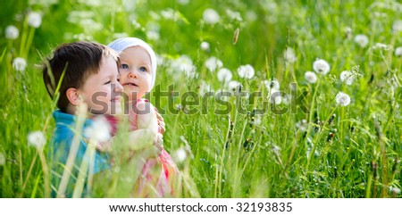 Brother and little sister playing in green grass at sunny summer day. - stock photo