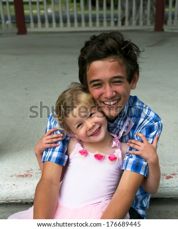 Brother and sister. - stock photo
