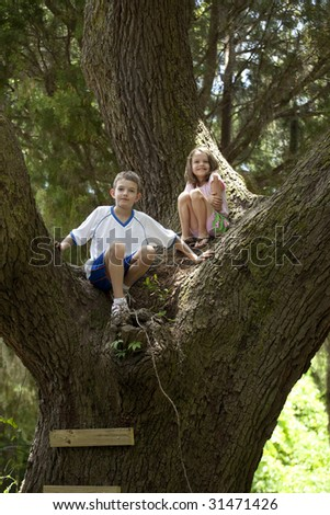 brother and sister climbing in huge oak tree - stock photo