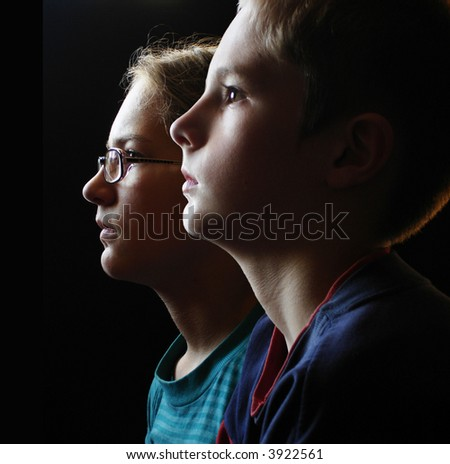 brother and sister in the church - stock photo