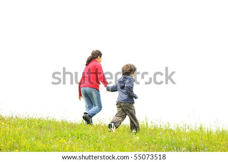 Brother and sister in the nature, running together