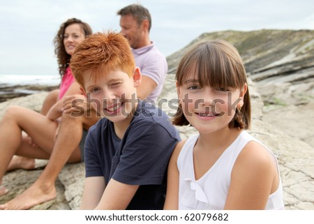 Brother and sister on vacation - stock photo