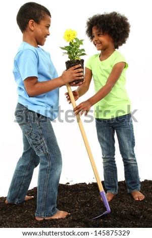 Brother and Sister planting flowers together.   - stock photo