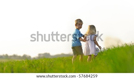 Brother and sister play together in a green meadow - stock photo