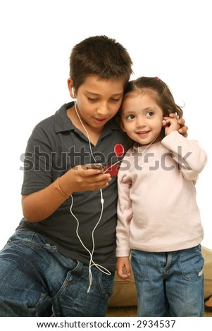 Brother and sister sharing a mp4 player