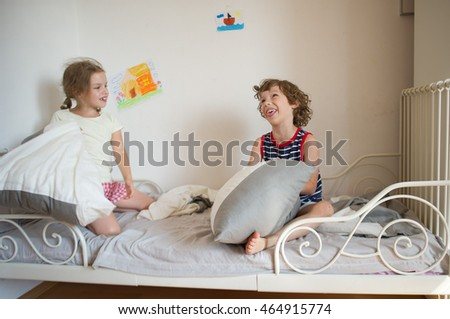 Brother Sister Sit On Bed Bedroom Stock Photo 464915774 Shutterstock