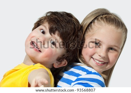 Brother And Sister Together For Ever on white  Background