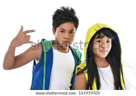 brother and sister together standing - stock photo