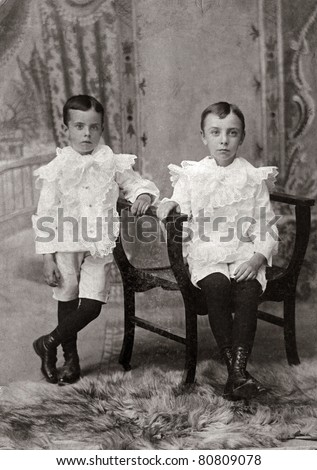 Brothers Antique Photograph - stock photo