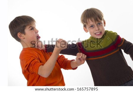 brothers fighting - stock photo