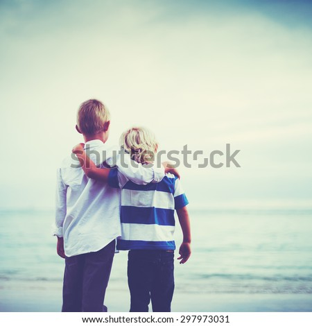 Brothers, Happy young brothers hugging at sunset. Friendship brotherhood concept - stock photo