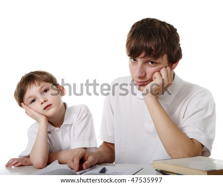 Brothers schoolboys - stock photo