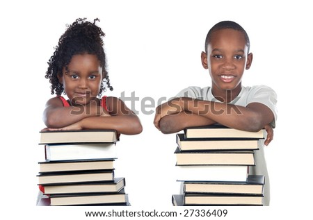 Brothers supported on a stack of books isolated on white - stock photo
