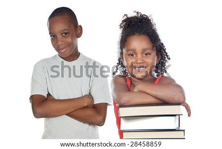 Brothers supported on a stack of books isolated on white