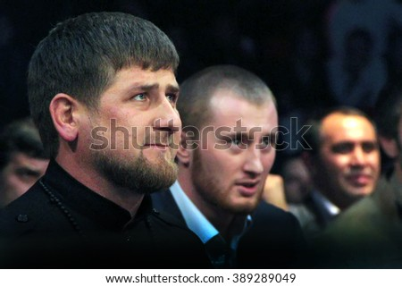 Brovary, UKRAINE - December 4, 2010: Chechen President Ramzan Kadyrov. Watching the fight in boxing.
