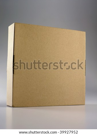 browm color cardboard box on the plain background - stock photo
