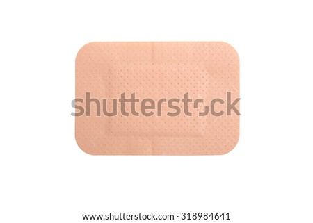 brown adhesive plaster isolated on white background - stock photo