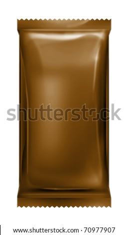 brown aluminum foil bag package with zigzag trim cut - stock photo