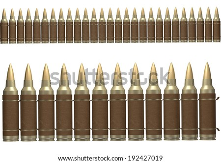 Brown ammunition belt isolated on white background in two sizes.