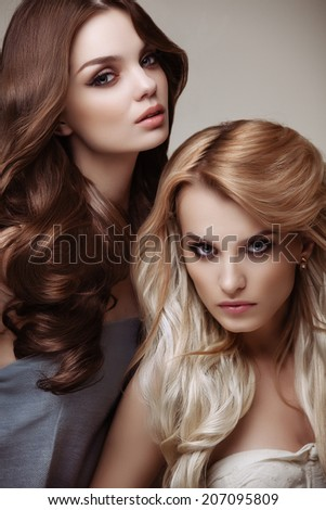 Brown and Blonde Hair. Portrait of Beautiful Womans with Long Hair. High quality image. - stock photo