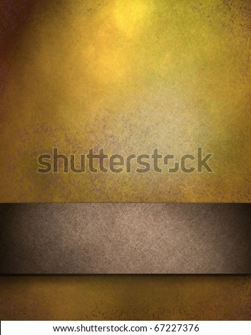 brown and gold abstract background with soft grunge texture, spotlight, leather illustration, darkened edges, and graphic art design layout strip for copy space to add your own text, image, or title - stock photo