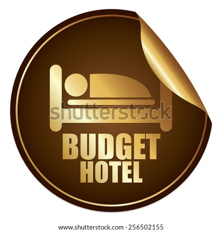 Brown and Gold Metallic Budget Hotel Sticker, Icon or Label Isolated on White Background  - stock photo