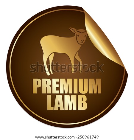 Brown and Gold Metallic Premium Lamb Sticker, Icon or Label Isolated on White Background