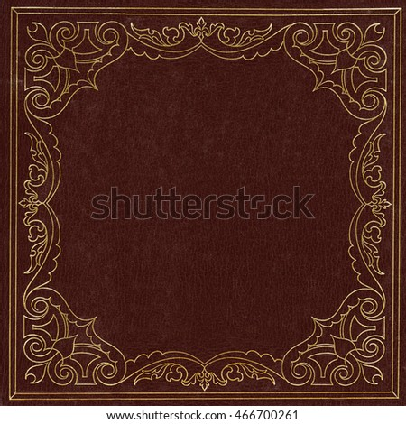 Brown and golden leather book cover