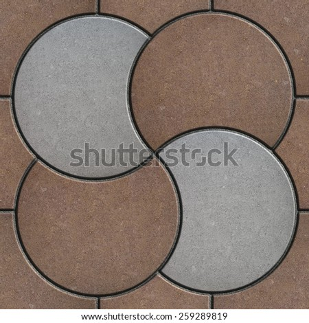 Brown and Gray Pavement  in the Form of a Circle. Seamless Tileable Texture. - stock photo