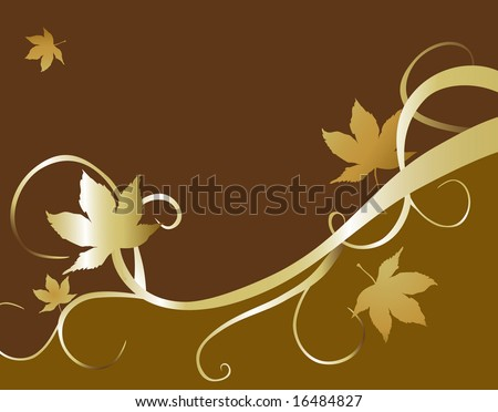 Brown and green background with gold maple leaves and swirls. Great for seasonal ads. - stock photo